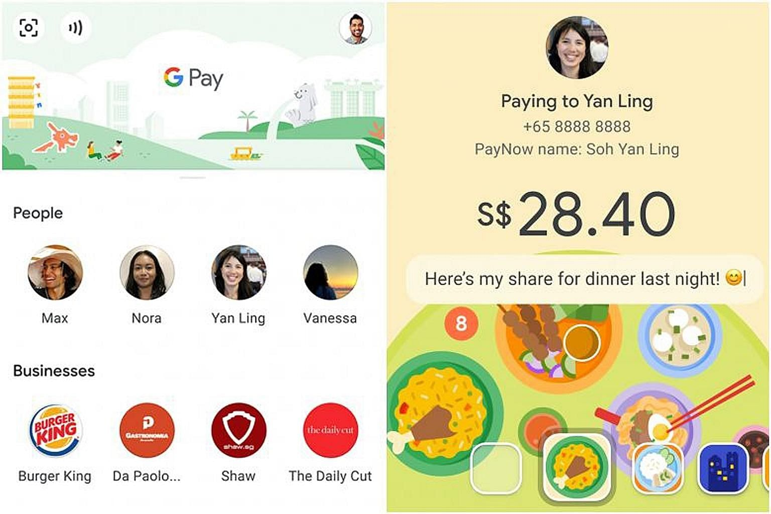 DBS PayLah!, StanChart and OCBC customers can use Google Pay to transfer funds from their bank accounts to any PayNow user. PHOTO: GOOGLE