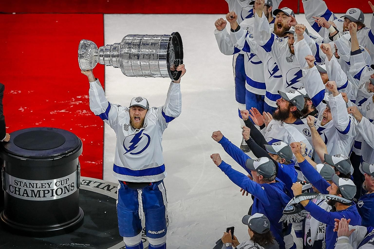 """One of the greatest feelings in the world"" for centre Steven Stamkos, as he hoists the Stanley Cup after Tampa Bay beat Dallas 2-0 in Edmonton to win the finals series 4-2 for their second title."