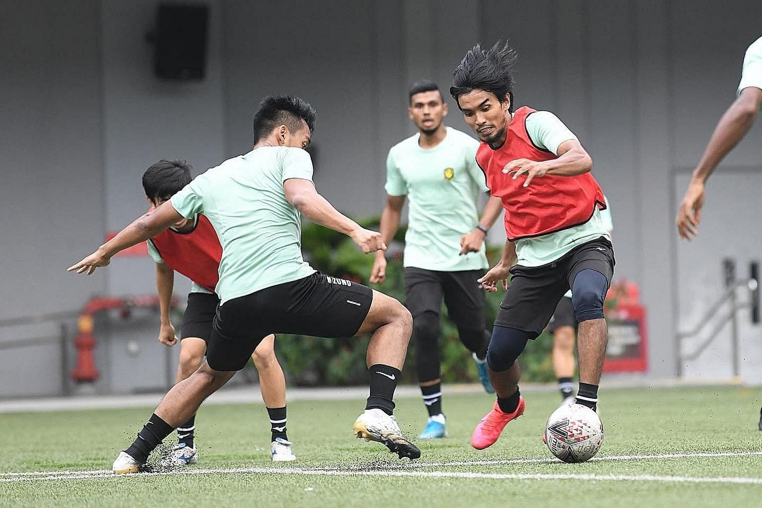 Yasir Hanapi training with his Singapore Premier League team Tampines Rovers, who led the standings before the hiatus in March. The players are desperate to return to competition after months training online during the circuit breaker, and then two m