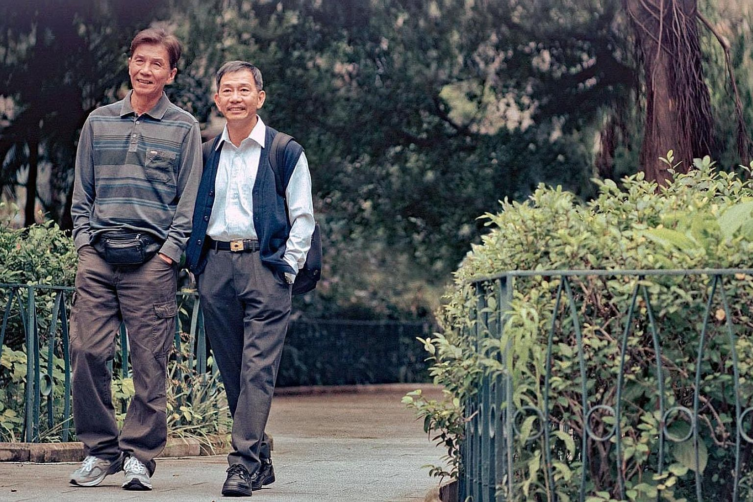 Suk Suk stars Tai Bo (far left) and Ben Yuen (left) as two men in their 60s and in love with each other.