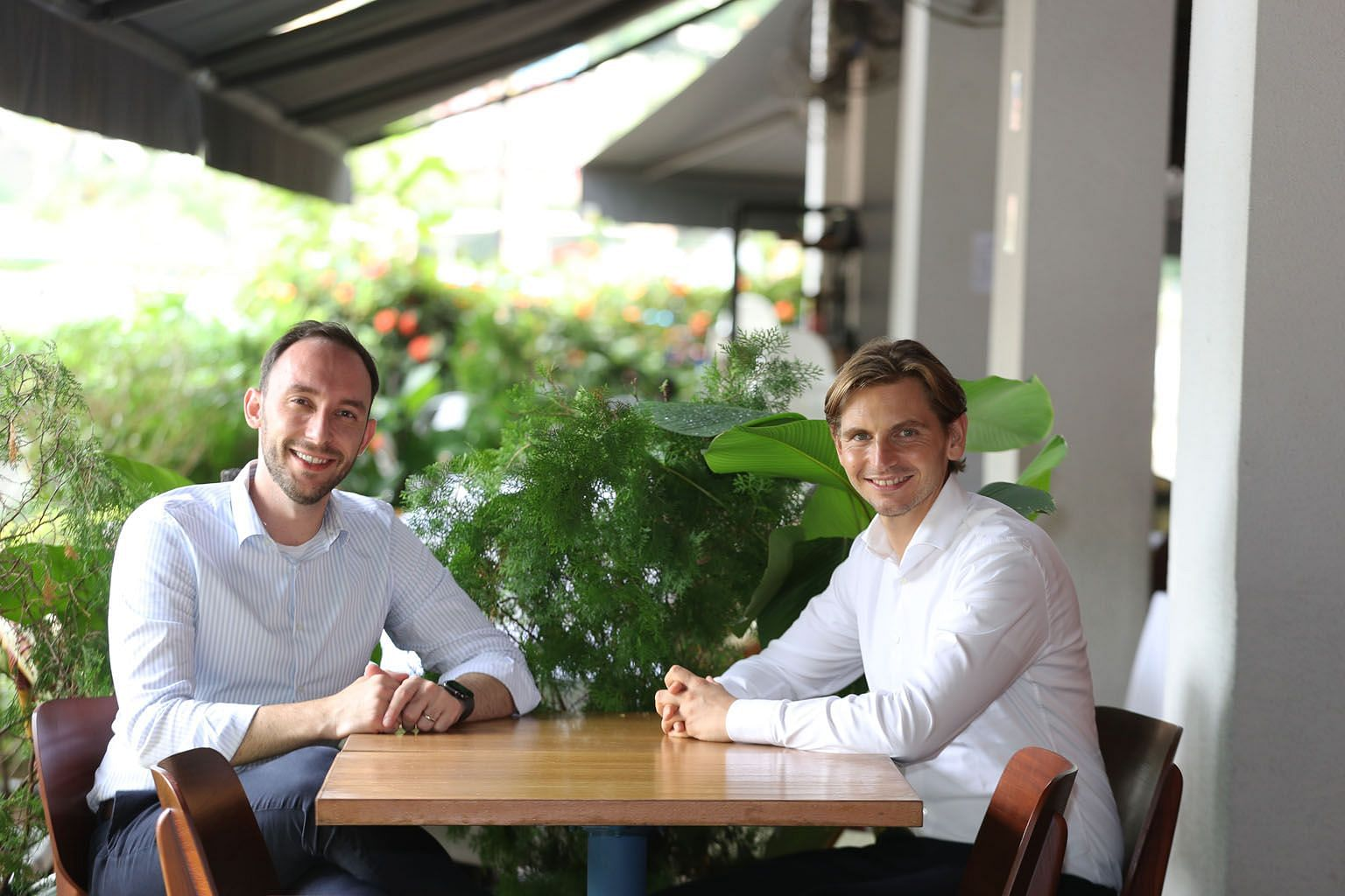 Co-founders of plant-based meat alternative firm Next Gen, Mr Andre Menezes (left) and Mr Timo Recker. Mr Menezes cited Singapore's conducive business environment, its budding agri-food ecosystem and large pool of chefs across different cuisines as r