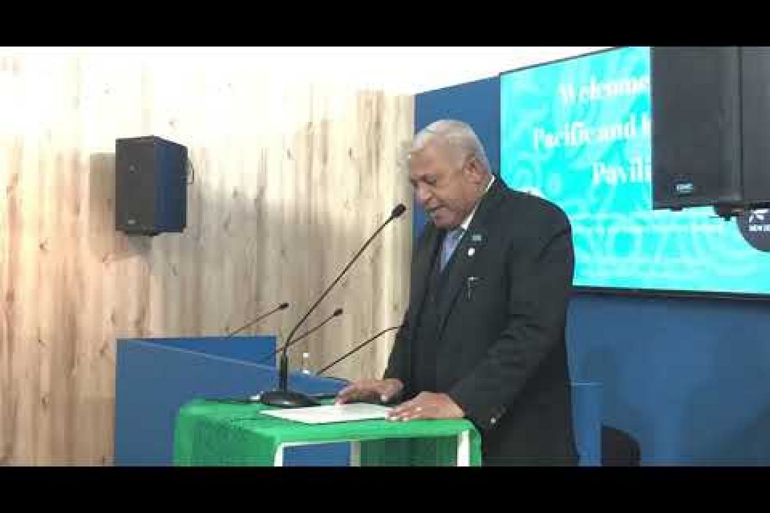 Fiji PM Frank Bainimaram making a plea to nations to ramp up ambition to curb global emissions