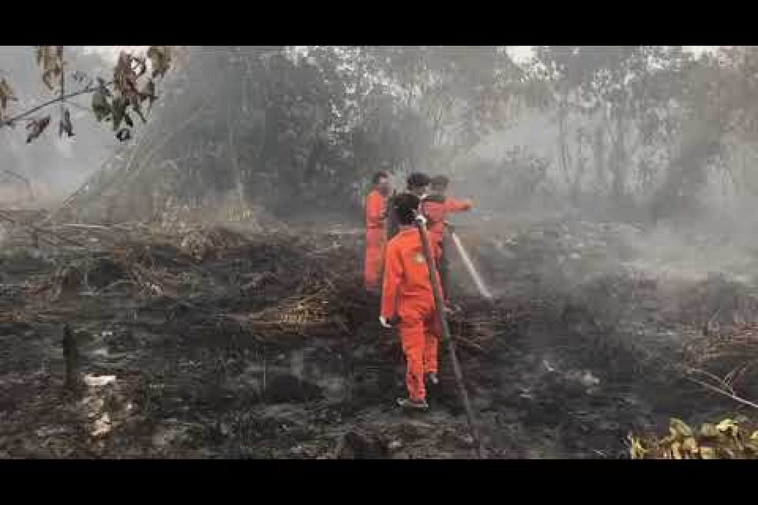 A fireman and students from a local university volunteer helping to put out fires in Riau