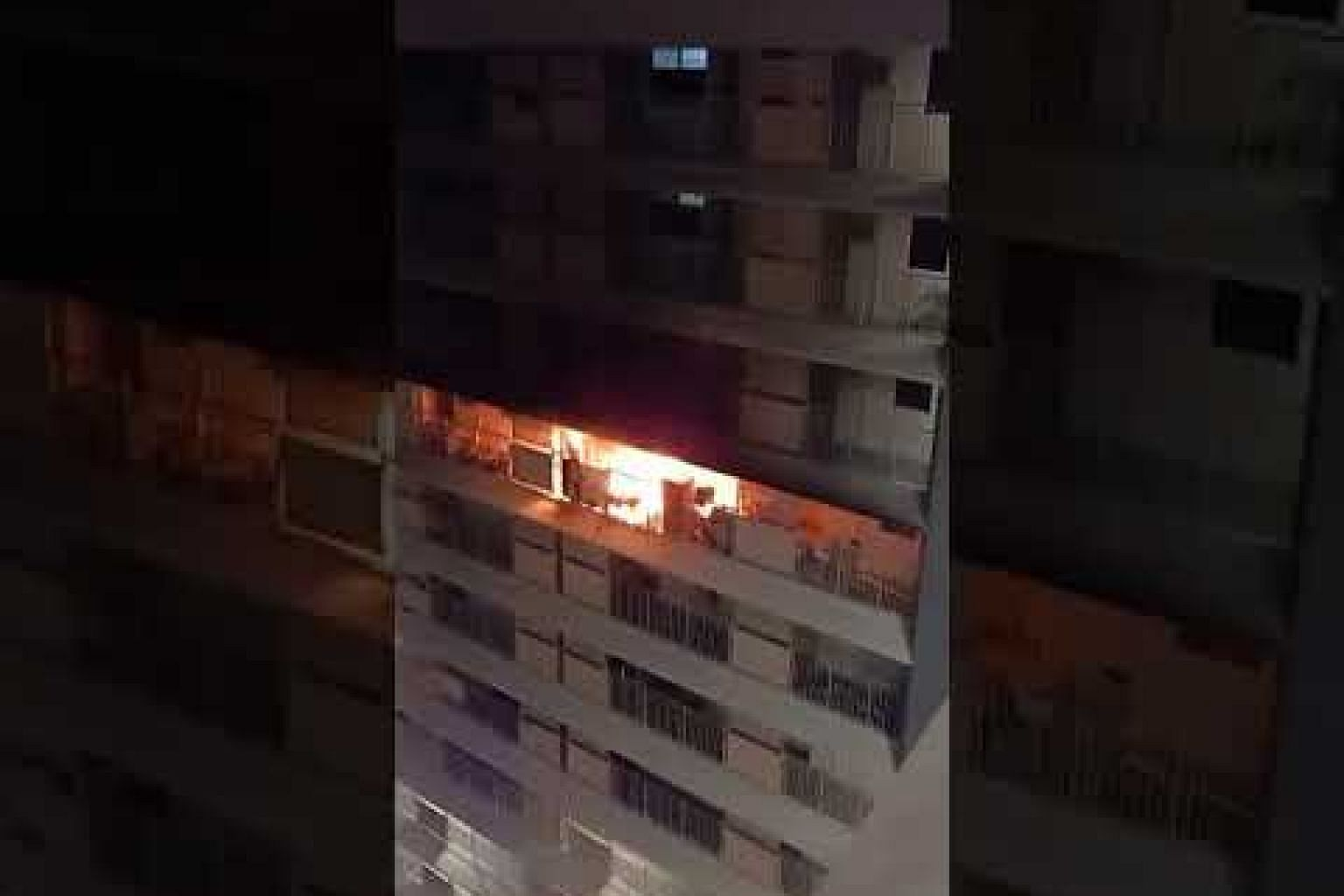 A fire from the 16th floor