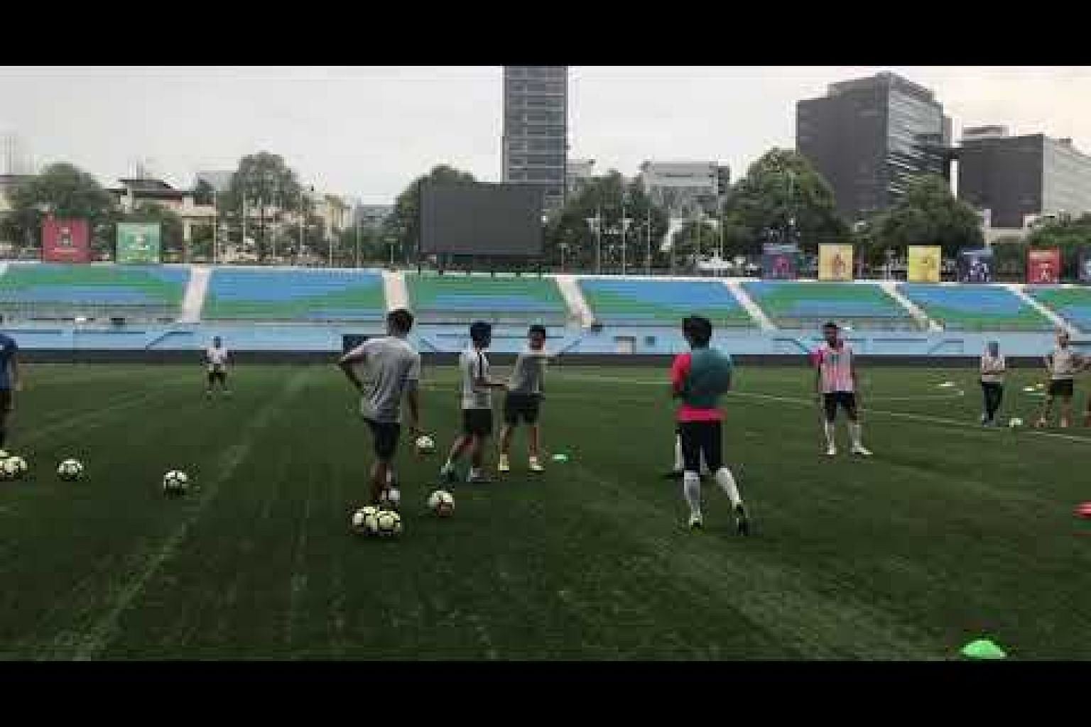 New national football coach Tatsuma Yoshida conducts his first training session with the Lions