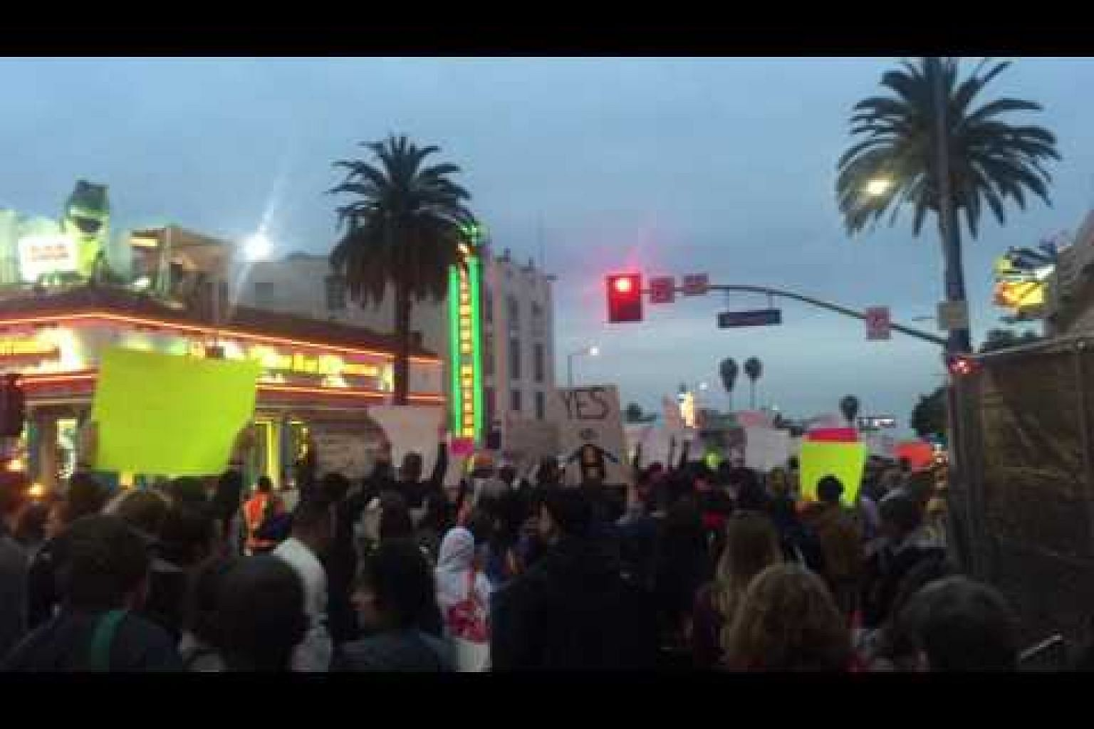 Activists out on Hollywood Boulevard marching for the homeless