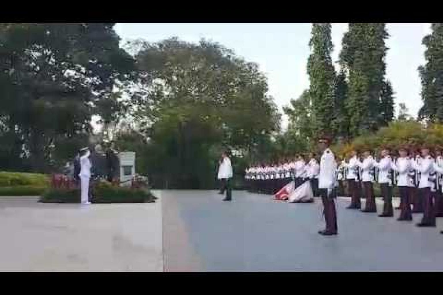 President Tony Tan and French President Francois Hollande inspect the guard