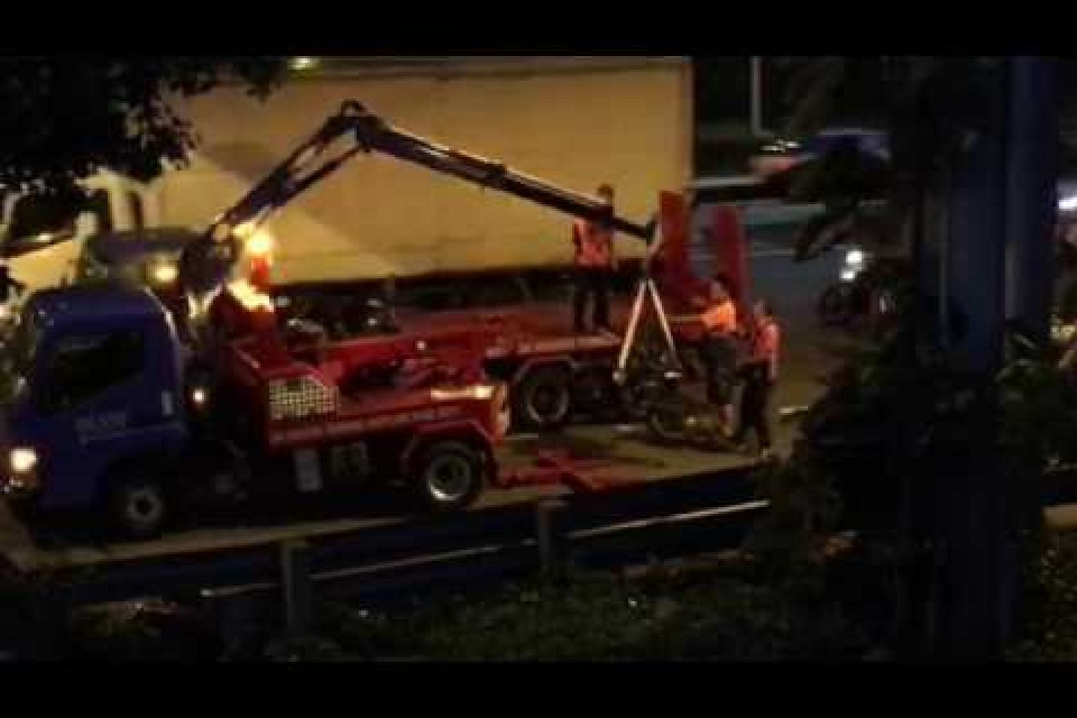 BKE accident: Motorcycle being removed from site