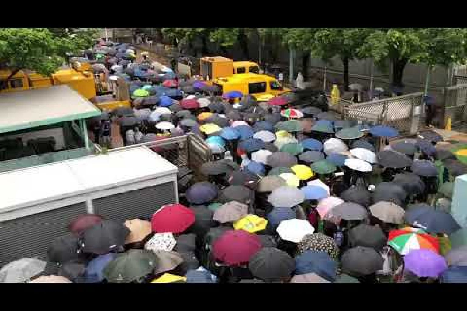 Protesters marching in the rain on Aug 25