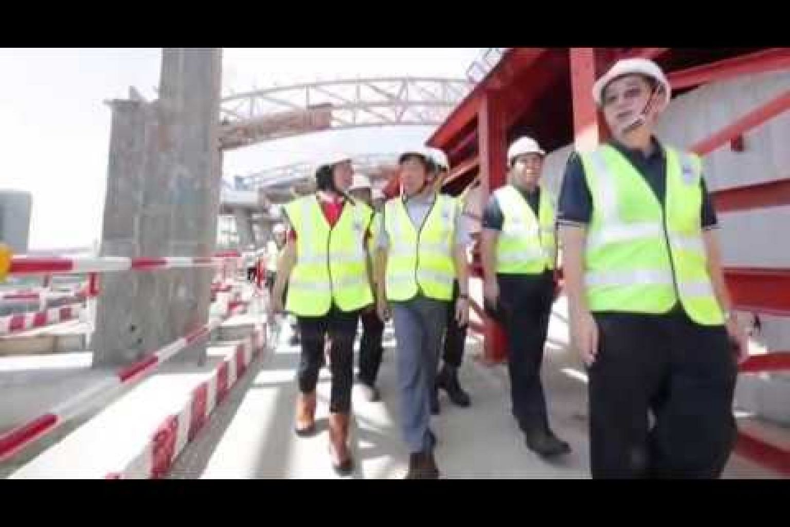 Transport Minister Khaw Boon Wan at the site of the future Canberra station