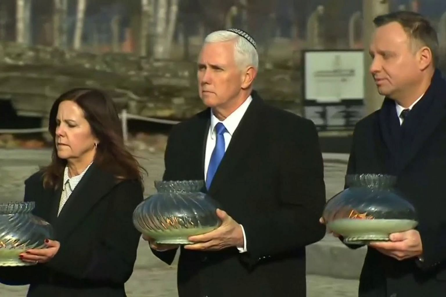 US Vice-President Mike Pence visits Auschwitz