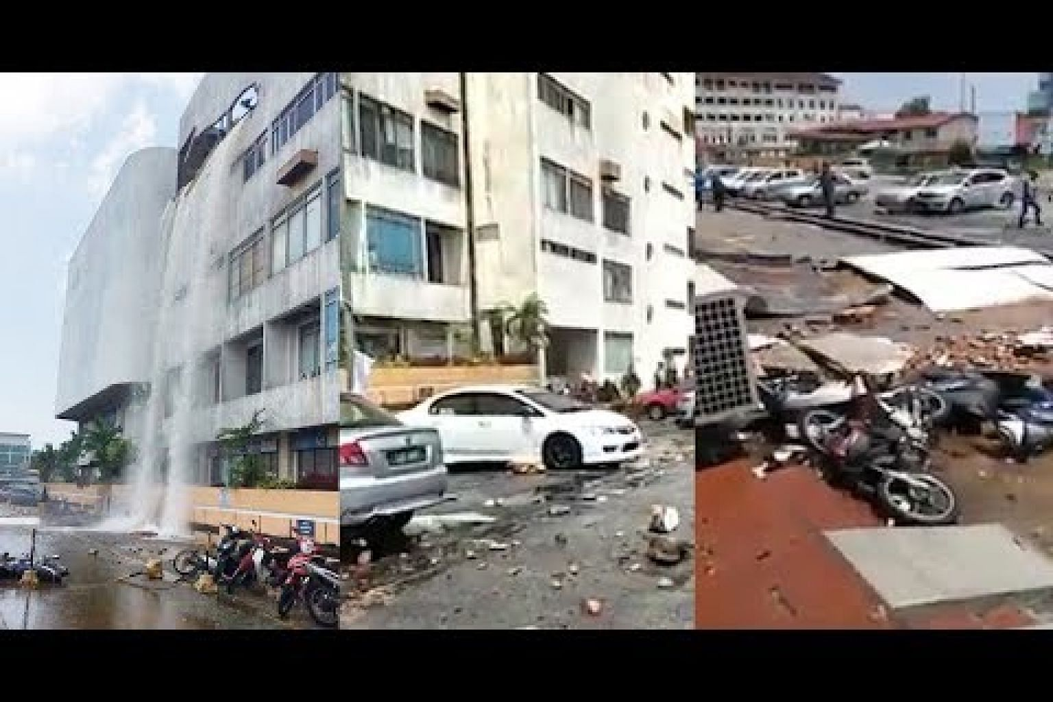 Water tank atop Kuantan building breaks and damages vehicles