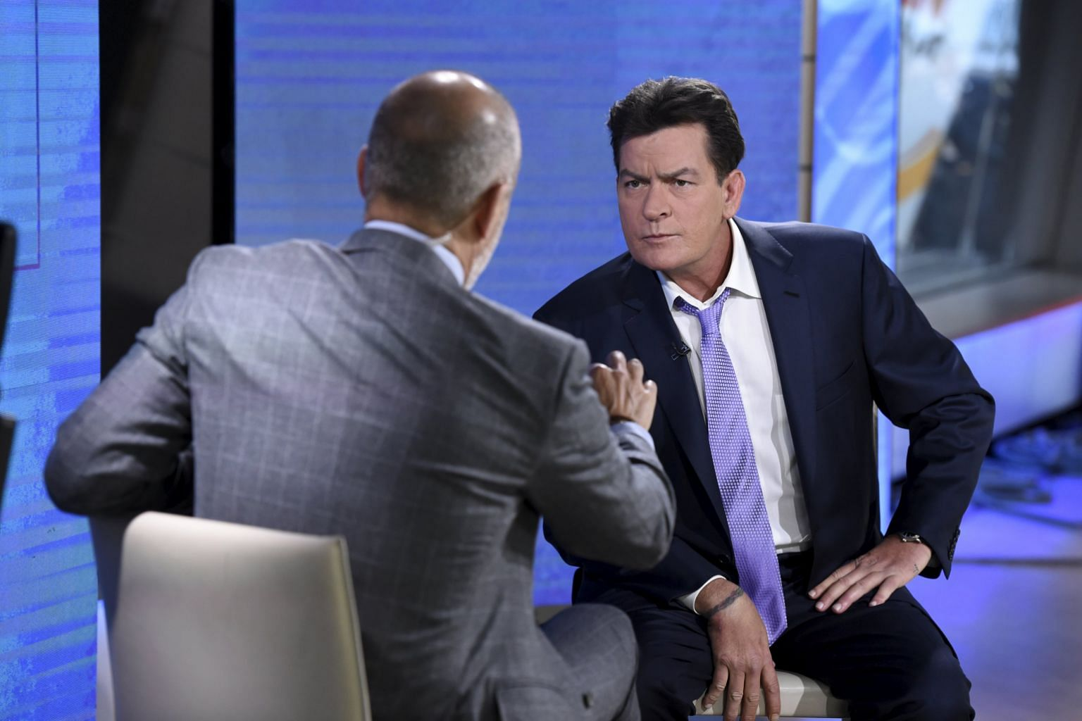 Actor Charlie Sheen (above) with Matt Lauer, host of NBC's Today show.