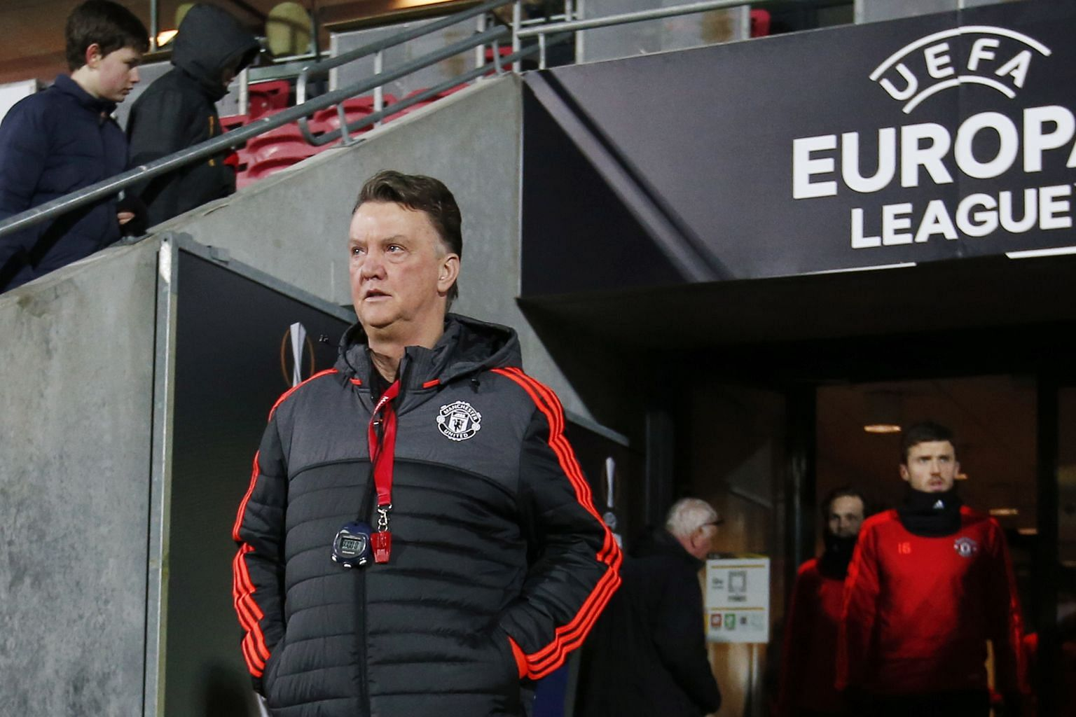 A pensive United manager Louis van Gaal before training in Denmark ahead of last week's game against Midtjylland, who stunned his team 2-1 in the Europa League round of 32 first leg.