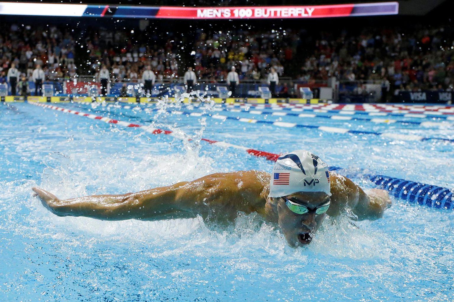 Michael Phelps winning the 100m butterfly final in 51.00sec at the US Olympic trials at the CenturyLink Centre in Omaha, Nebraska on Saturday.