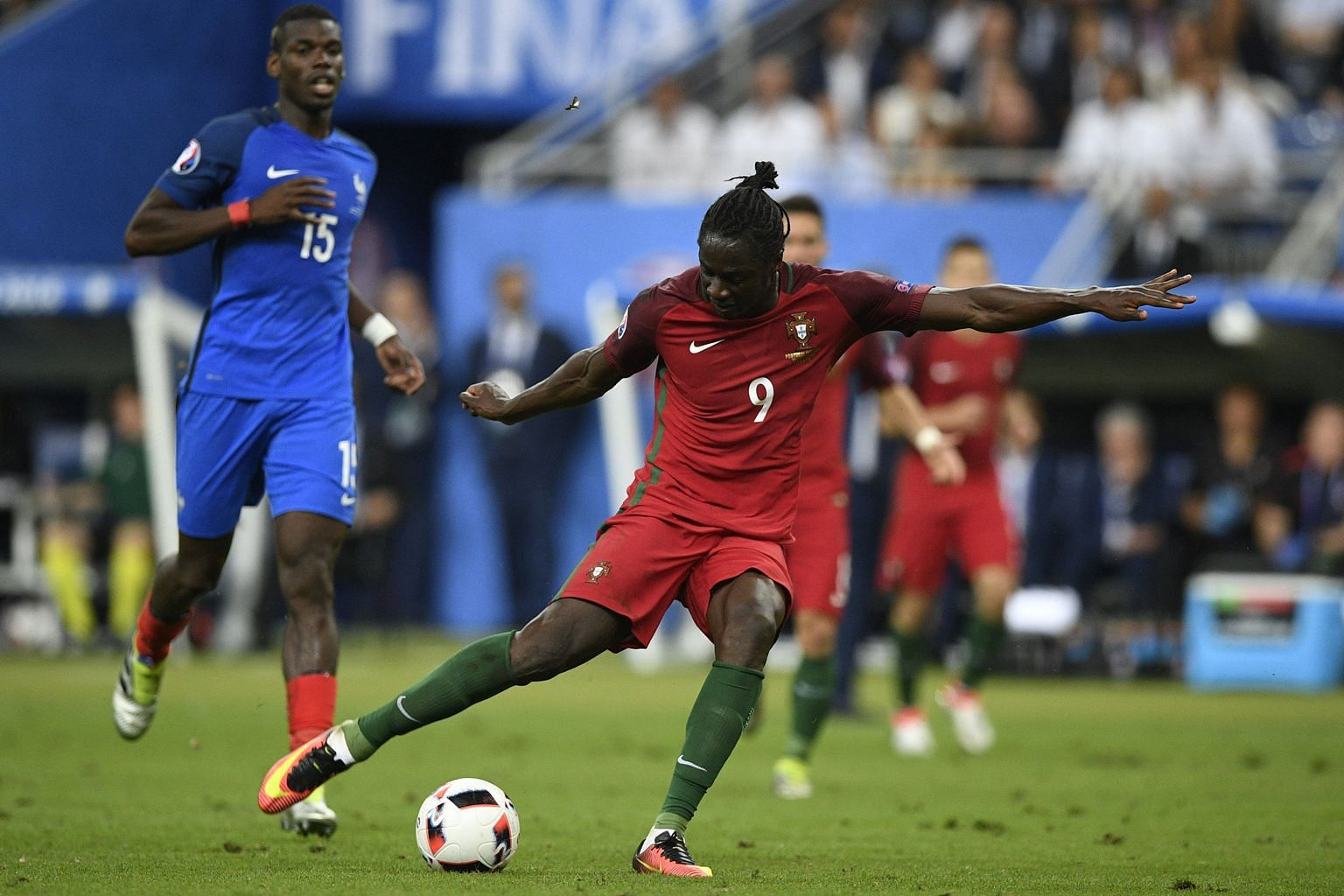 Portugal forward Eder (No. 9), widely regarded as a fringe player, scores for the underdogs against host nation France with 11 minutes remaining in extra time in the Euro 2016 final on Sunday.