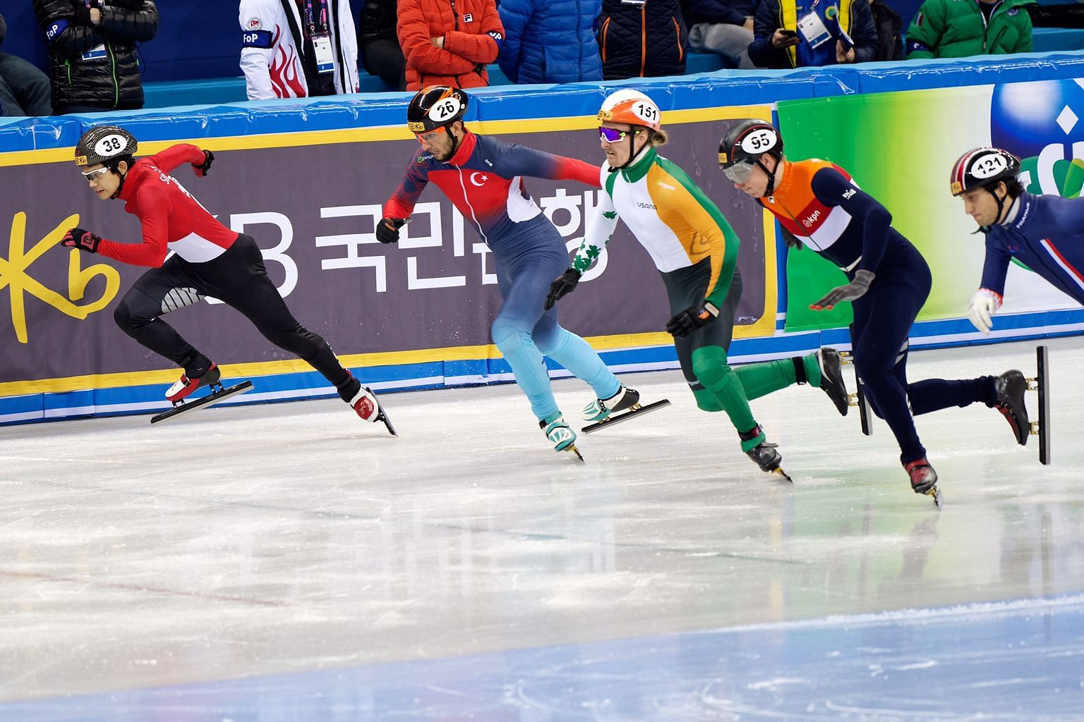 National short-track speed skater Lucas Ng (extreme left) in action in the men's 500m yesterday at the International Skating Union World Cup in Gangneung, South Korea.