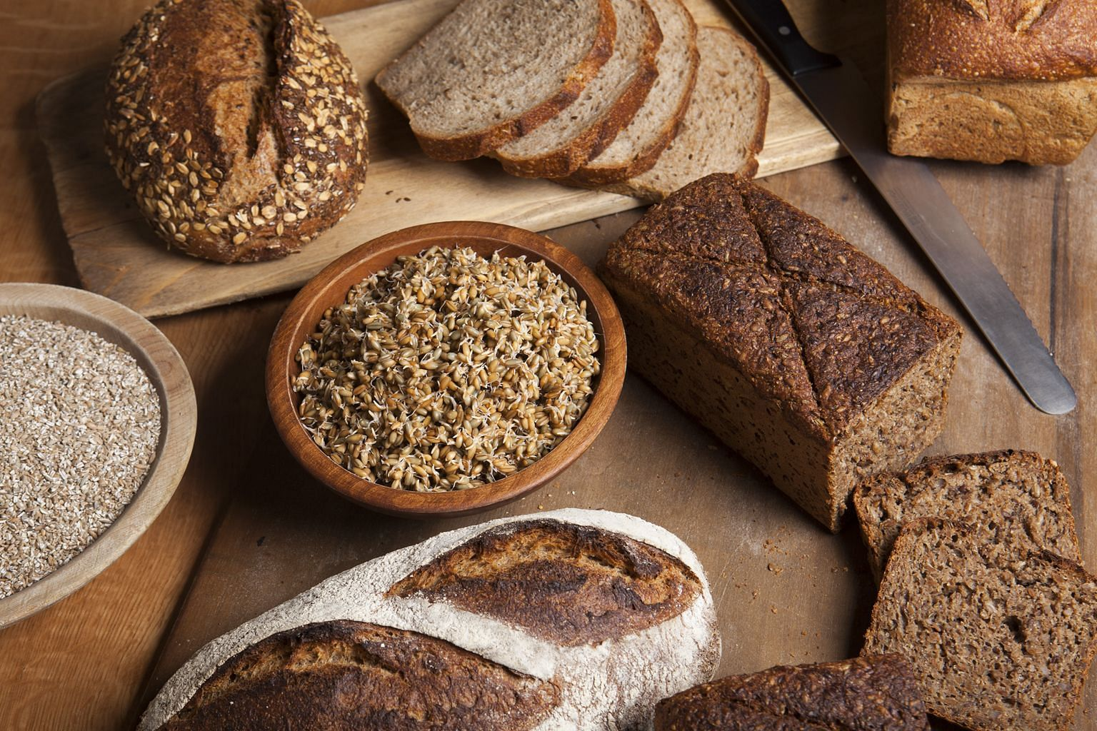 Different rye loaves sold in New York. Rye bread is popular as it contains more fibre and less gluten than wheat.