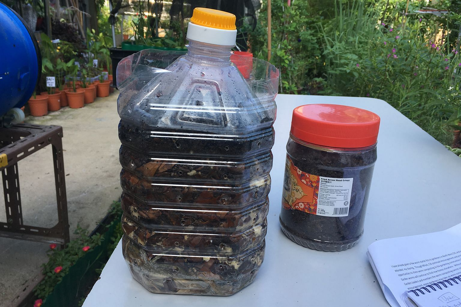 Coffee grounds (above, right) are needed for making compost, which you can keep in a 5-litre plastic container (above, left).