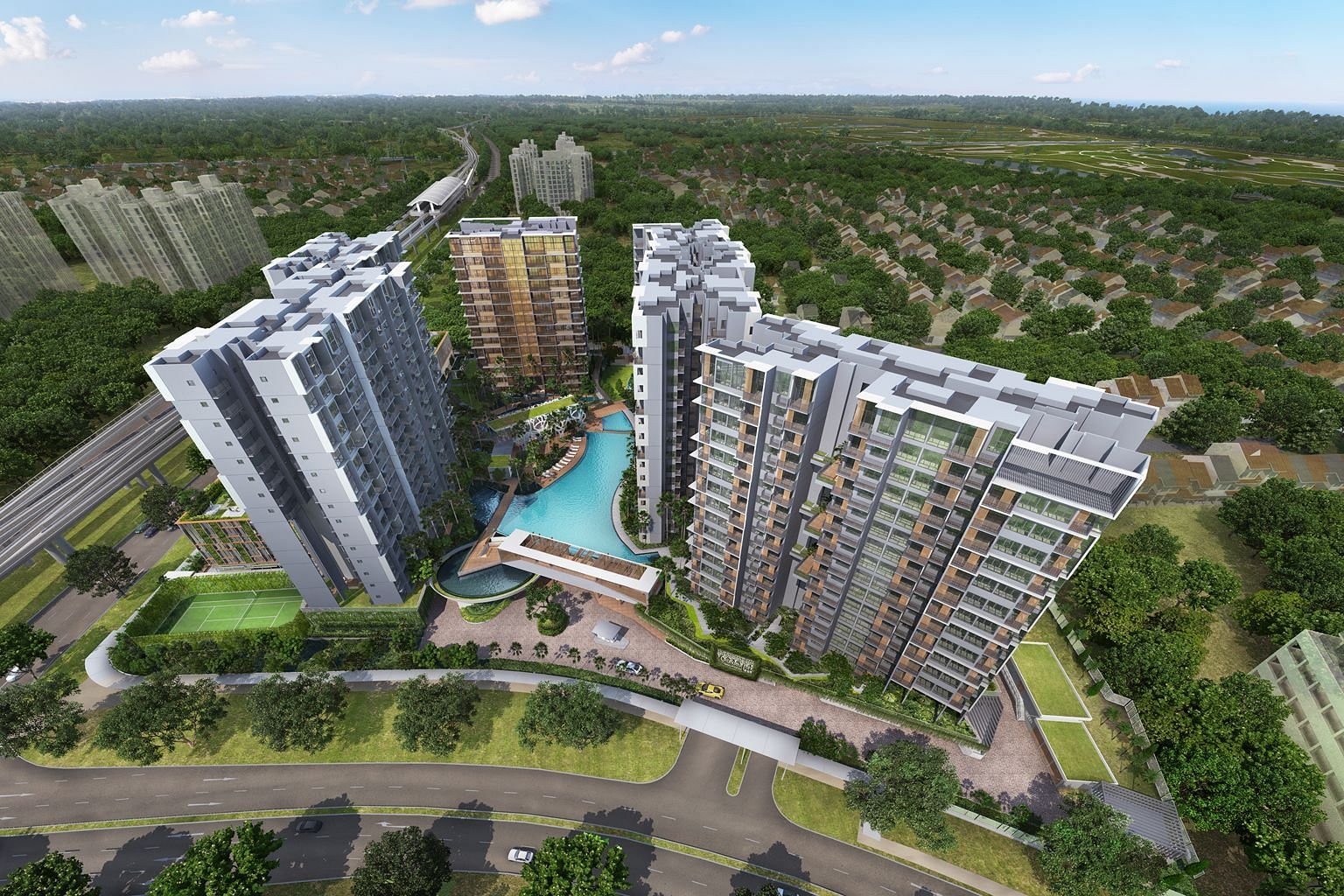 The average price of the 720-unit Grandeur Park Residences is about $1,350 per square foot. Its location near Tanah Merah MRT station proved to be one of the key draws of the development.