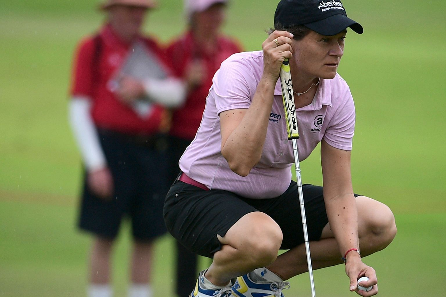 """Scottish golfer Catriona Matthew on the 13th hole of the HSBC Women's Champions yesterday. She is 47 and a mother of two and says that older golfers acquire """"patience"""" along with their expertise."""
