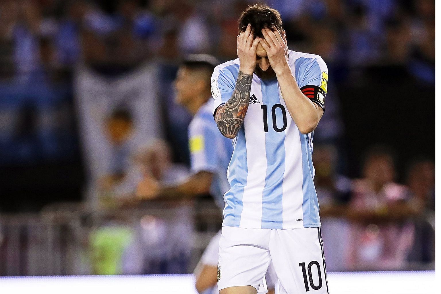 Argentina's Lionel Messi during the World Cup qualifier against Chile on March 23, after which he was banned for four international matches for insulting an assistant referee.
