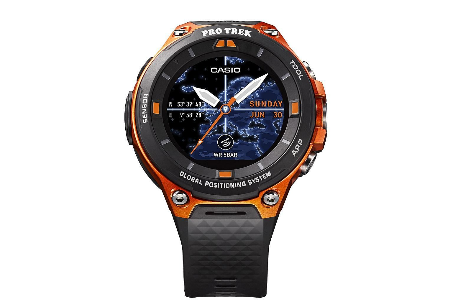 The Casio WSD-F20 has built-in GPS and supports offline maps.
