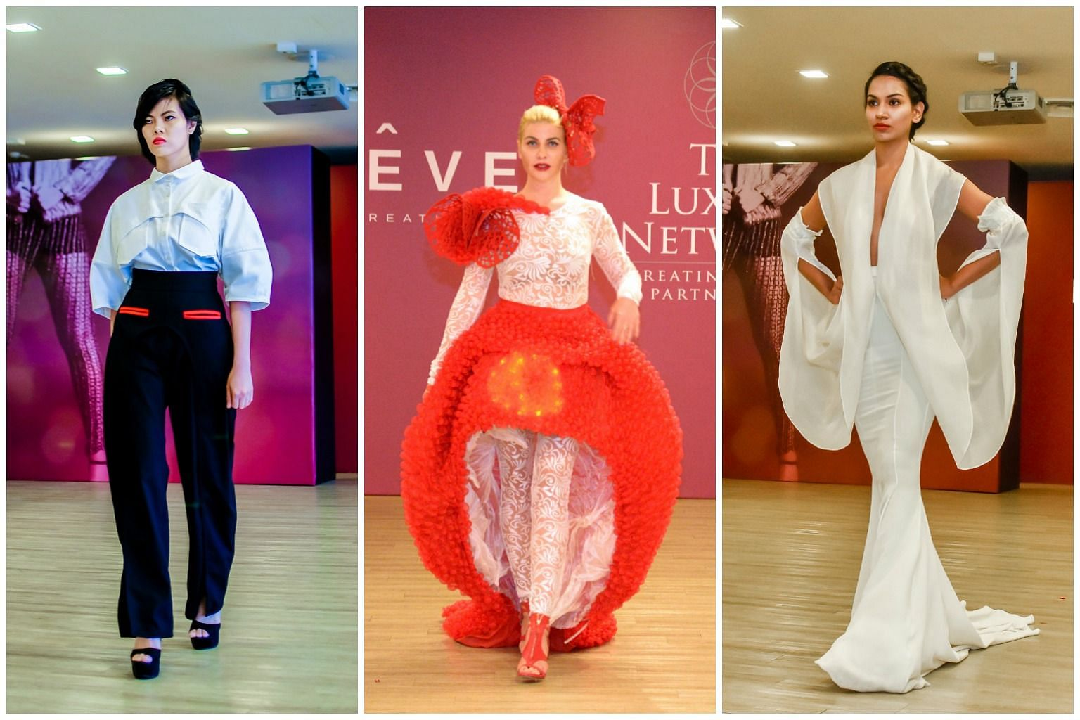 Outfits from designer Lena Trotsko's Maleficent collection (left) at the event held at the Singapore Turf Club. (From left) On the catwalk: Creations from Esther Choy's I Am At Heart A Gentleman collection; Galina Mihaleva's Avant-Garde collection; a