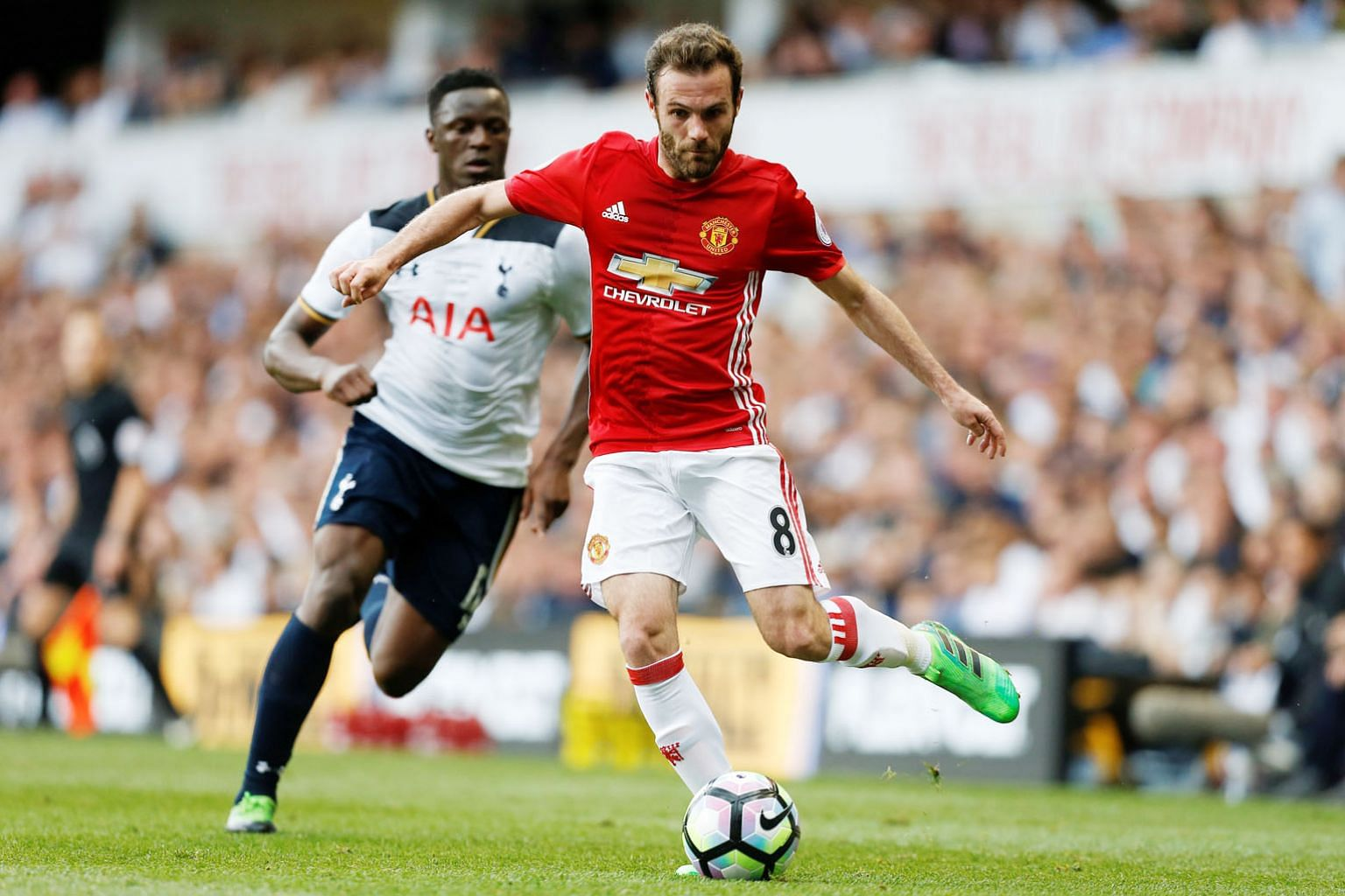 Spanish midfielder Juan Mata in action in the 1-2 loss to Tottenham last Sunday. He wants United to win their final two league games to be in the best shape to face Dutch side Ajax in the Europa League final next Wednesday.