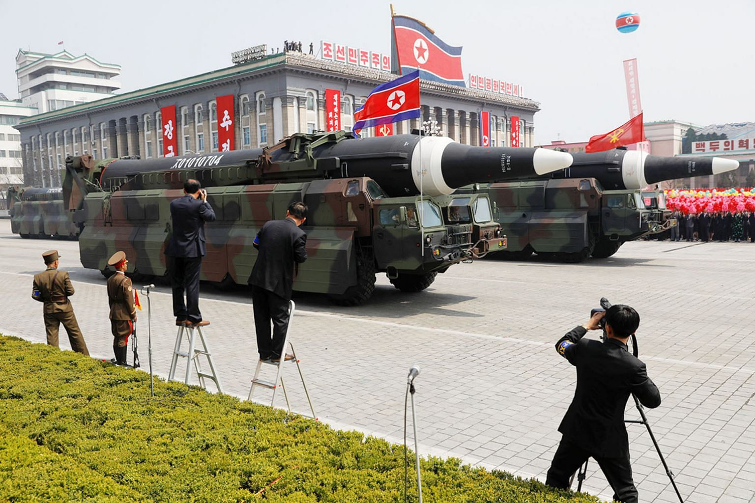 Missiles on show during a military parade in North Korea. The regime's race to build a warhead that could reach the US has recently brought the modern arms race into focus.