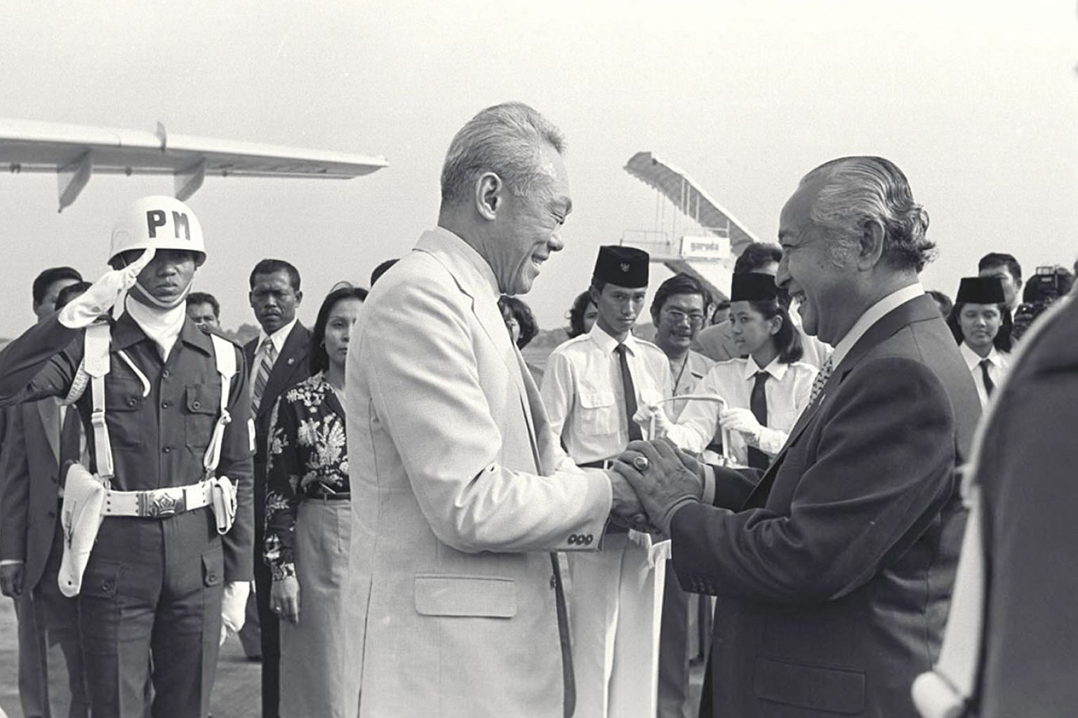 """When Mr Lee Kuan Yew was Prime Minister of Singapore, he built a strong friendship with Indonesian President Suharto that """"overcame the many prejudices between Singaporeans of Chinese descent and Indonesians"""". According to Mr Lee's memoirs, they met"""