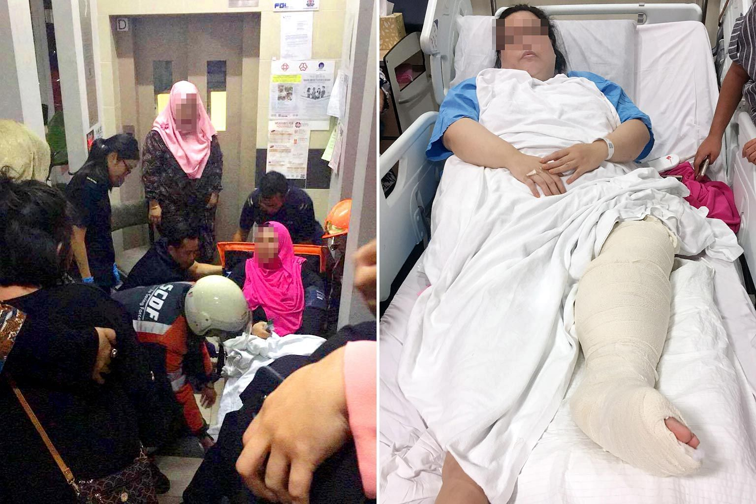 The victim was with her husband, daughter, brother and brother-in-law during a Hari Raya visit when the lift plunged, fracturing her leg. (Left) Singapore Civil Defence Force officers helping her after the accident last Saturday.
