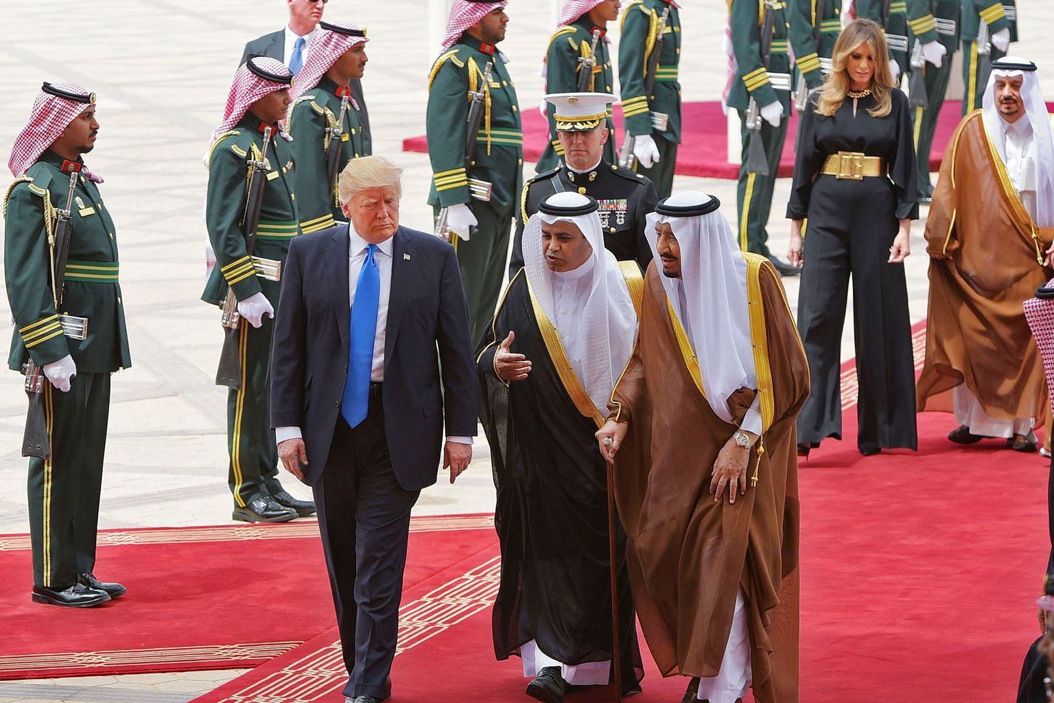 US President Donald Trump being welcomed by Saudi King Salman bin Abdulaziz al-Saud (right) at King Khalid International Airport in Riyadh on May 20. The writer says there was a palpable sense of relief when Mr Trump went to Riyadh. The US was back.
