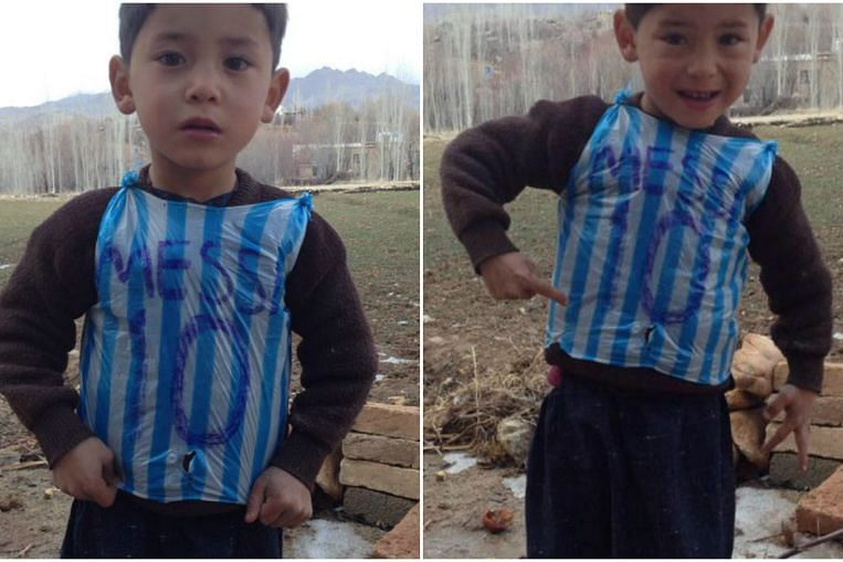 save off bcdbc ce449 Mystery of boy seen in Messi plastic bag jersey solved ...