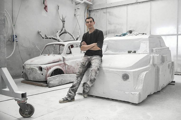 Italian artist sculpts a Fiat 500 car out of marble