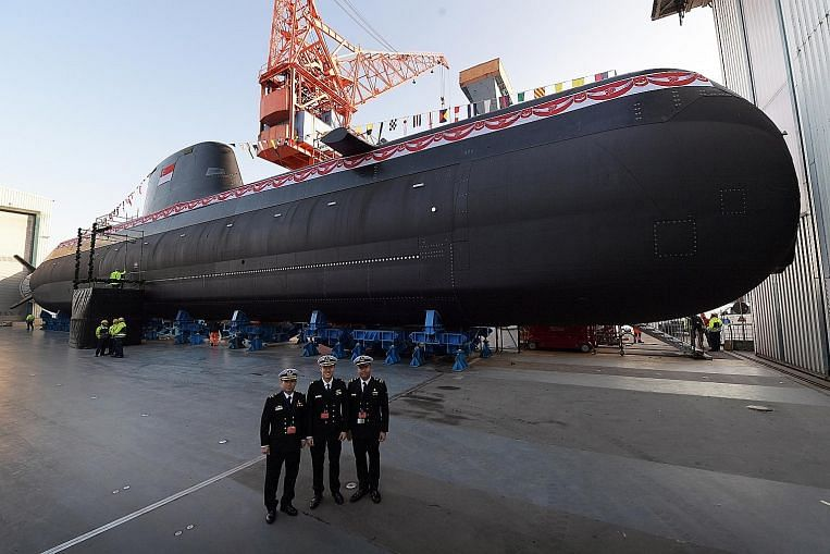 The Invincible was launched yesterday at German defence contractor thyssenkrupp Marine Systems' shipyard in port city Kiel in north Germany. The Type 218SG submarine is customised for Singapore's operating environment, particularly the shallow and busy waters in the region. Image: The Straits Times/Alphonsus Chern