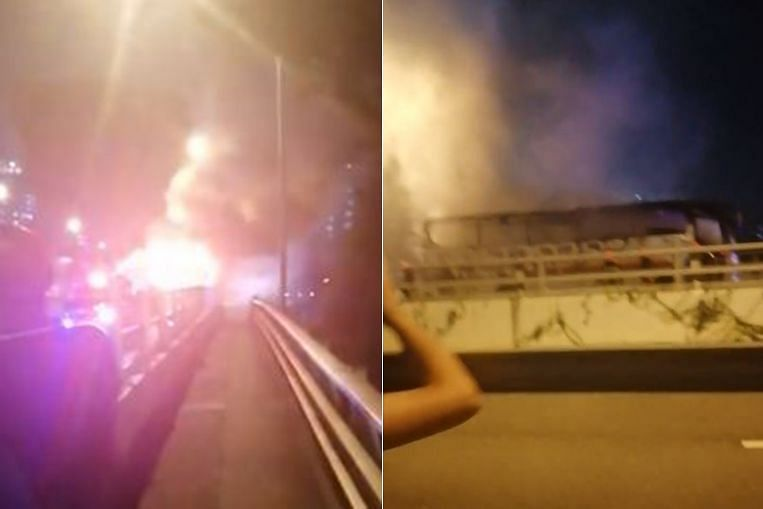 Bus catches fire on Jurong East flyover
