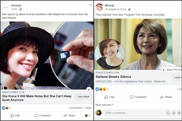 Fake advertisements that try to pass off as Straits Times Facebook posts surface online