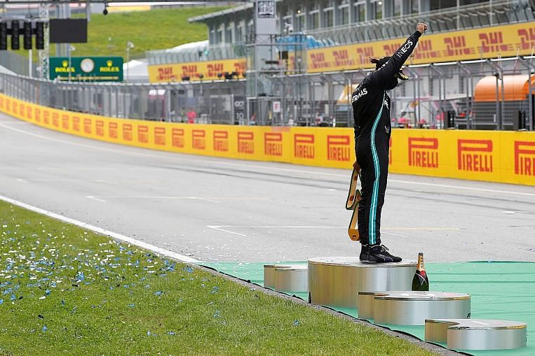 Hamilton revels in first win as Leclerc takes out Vettel