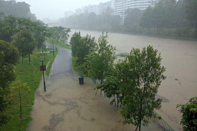 Heavy rain triggers flooding across Singapore