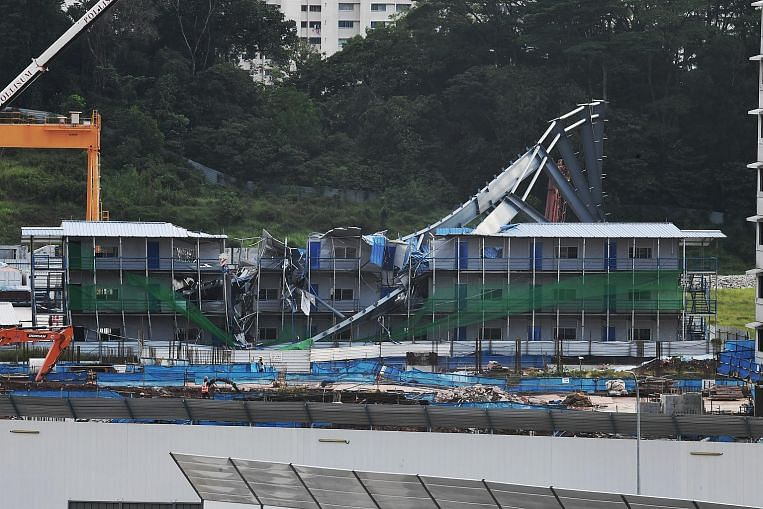 12m-tall steel structure collapses next to BTO worksite in Tengah, no one hurt
