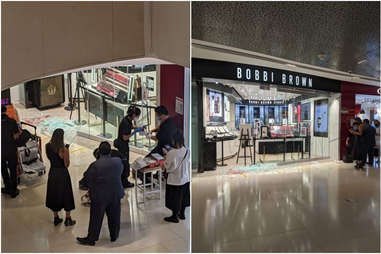 Blood, shattered glass at one store on first day of Ion Orchard's reopening after closure due to Covid-19