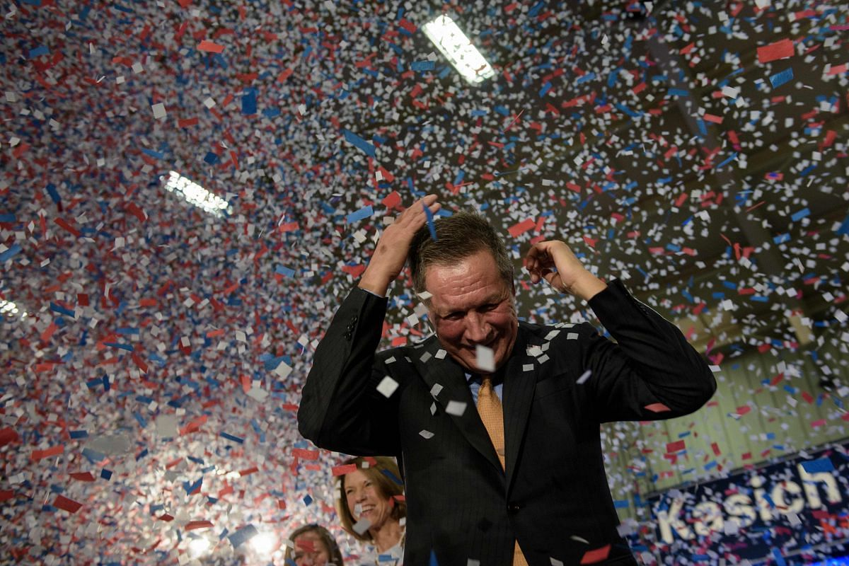 Republican US Presidential hopeful John Kasich celebrates his Ohio primary victory during voting day rally at Baldwin Wallace University March 15, 2016, in Berea, Ohio.