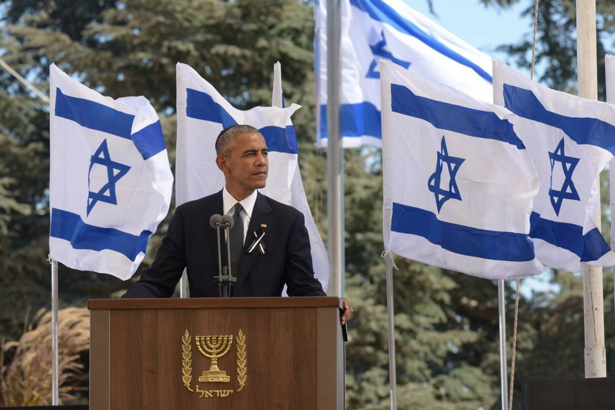 US President Barack Obama delivers a speech during the state funeral ceremony for late Israeli president Shimon Peres at the Mount Herzl national cemetery in Jerusalem on Sept 30, 2016.