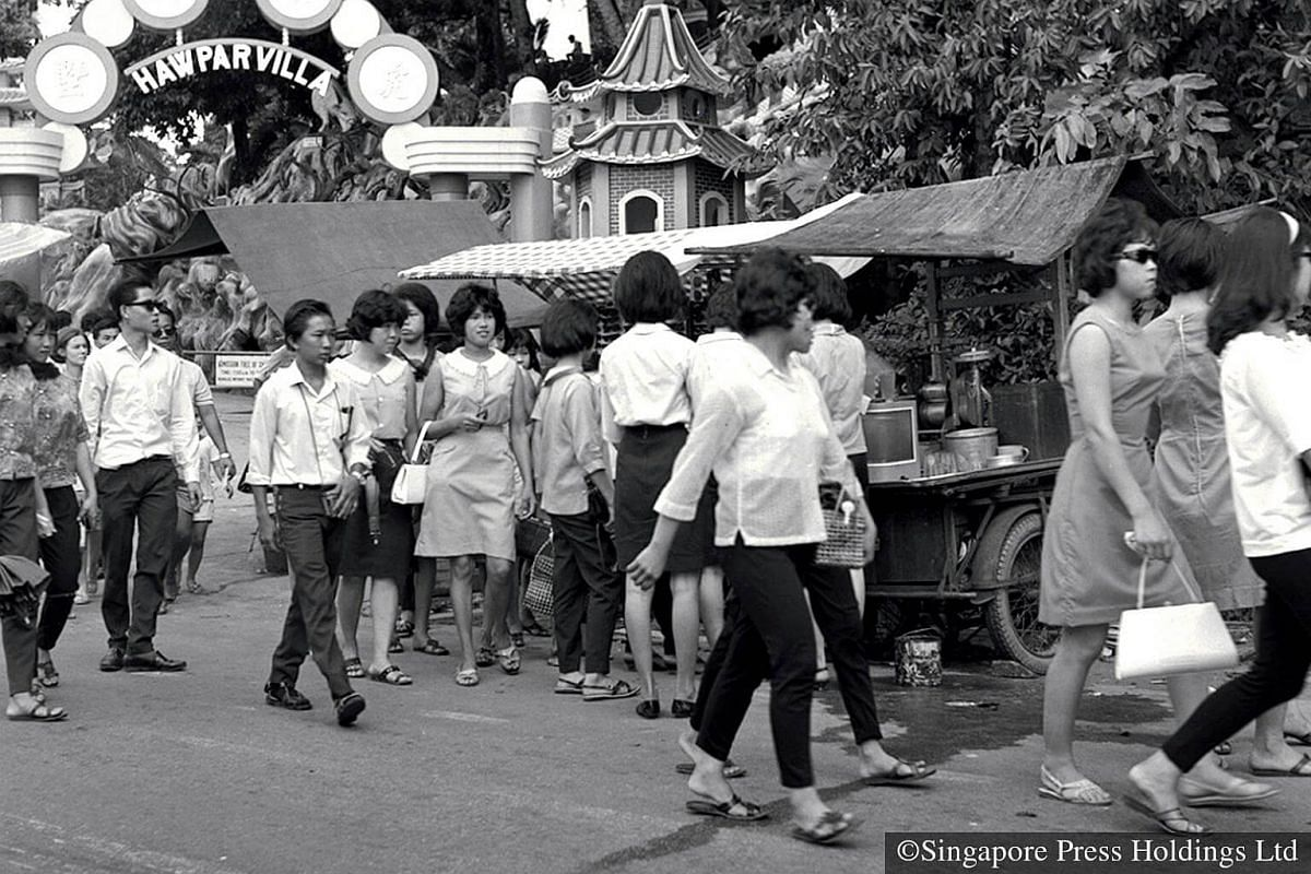 """1967: Another favourite activity during the Chinese New Year holidays is a visit to Haw Par Villa, a theme park which boasts its """"10 Courts of Hell"""" and figurines of characters from Chinese mythology."""