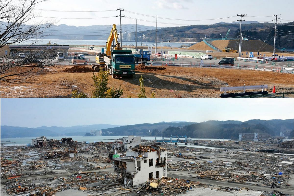 A picture combo shows (bottom) tsunami-devastated Shizugawa district in Minami Sanriku of Miyagi Prefecture on March 14, 2011, and (top) a view of the same area on Feb 27, 2016.