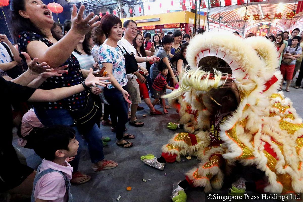 """2015: Adding to the sights and sounds of Chinese New Year are lion dance performances. The mark of a good lion dance performance is in how natural it looks and its interactions with the audience. Cai qing, or """"picking the greens"""" in Chinese, is a"""