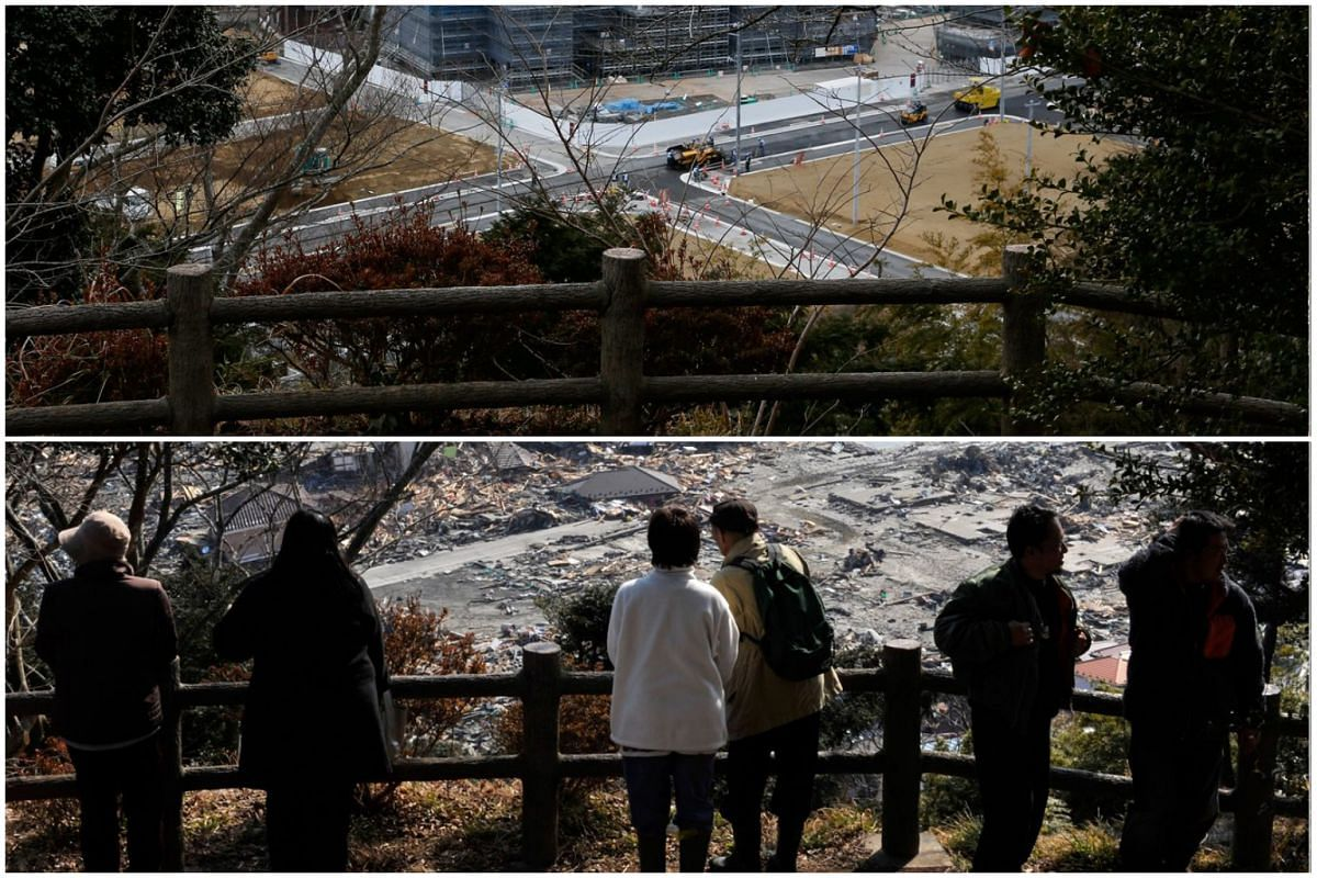A picture combo shows (bottom) tsunami survivors look over the tsunami-devastated area of Ishinomaki on March 13, 2011, and (top) a view of the same area on Feb 27, 2016.