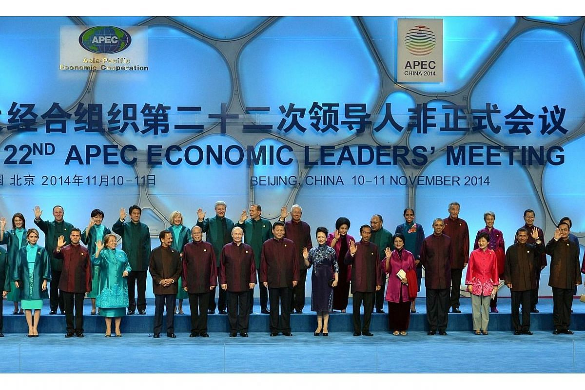 "World leaders at the Asia-Pacific Economic Cooperation (APEC) grouping for a ""family photo"" at the Beijing National Aquatics Center in the Chinese capital on Nov 10, 2014. -- PHOTO: AFP"