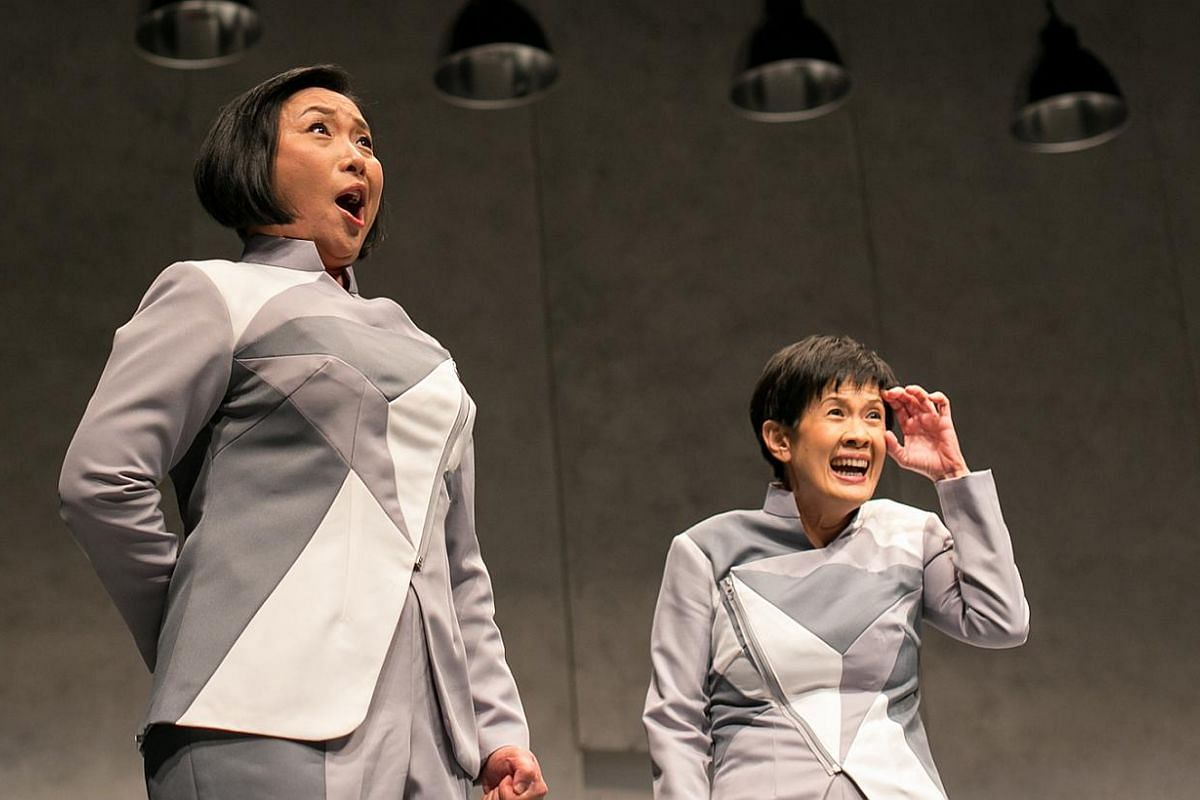 Claire Wong (left) and Karen Tan (right) in the 2013 revival of Atomic Jaya.